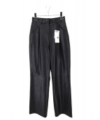MOUSSY(マウジー)の古着「FAUX LEATHER STRAIGHT PANTS」|ブラック