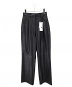 moussy(マウジー)の古着「FAUX LEATHER STRAIGHT PANTS」 ブラック