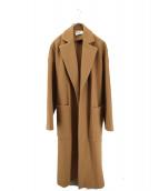 BLACK by moussy(ブラックバイマウジー)の古着「melton long slit coat」|ベージュ