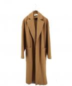 BLACK by moussy(ブラックバイマウジー)の古着「melton long slit coat」 ベージュ