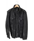 AVIREX(アビレックス)の古着「M-65 加工レザージャケット」|ブラック