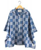 ()の古着「block check poncho hooded」 ブルー×ホワイト