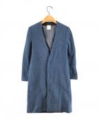 so1:1(ソウワンバイワン)の古着「ノーカラーコート」 ブルー