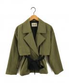 ROPE mademoiselle(ロペマドモアゼル)の古着「タスランツイルショートトレンチコート」 カーキ