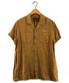 DEUS EX MACHINA(デウス エクス マキナ)の古着「リネン ロゴ刺繍半袖シャツ」|ベージュ