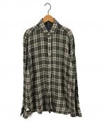BARBA(バルバ)の古着「チェックリネンシャツ」|グリーン×ホワイト
