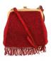 MIU MIU(ミュウミュウ)の古着「がま口ビーズフリンジバッグ」|レッド