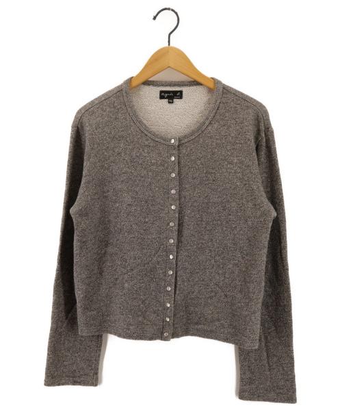 agnes b(アニエスベー)agnes b (アニエスベー) ラメスナップカーディガン グレー サイズ:T2の古着・服飾アイテム