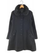 ()の古着「ラビットファー付ウールコート」|ブラック