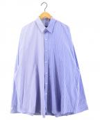 DRESSEDUNDRESSED(ドレスドアンドレスド)の古着「XXL PINSTRIPE COLOR BLOCK シャツ」 サックスブルー