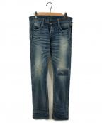 KURO(クロ)の古着「ボタンフライダメージ加工デニムパンツ」|インディゴ