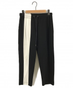 DIET BUTCHER SLIM SKIN(ダイエットブッチャースリムスキン)の古着「Bold lined track pants トラックパンツ」|ブラック×ホワイト