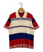JUNYA WATANABE MAN(ジュンヤワタナベマン)の古着「ニットポロシャツ」 ブルー×レッド