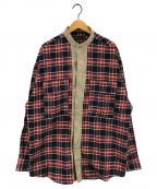 Laid Back()の古着「Flannel Shirts Redフランネルシャツ」|ネイビー×レッド