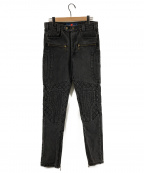 blackmeans(ブラックミーンズ)の古着「ステッチジップデザインデニムパンツ」|グレー