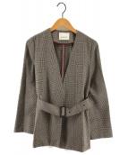 ()の古着「ノーカラーベルト付グレンチェックジャケット」|グレー