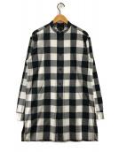 HELMUT LANG(ヘルムートラング)の古着「バンドカラーロングシャツ」|ホワイト×ブラック