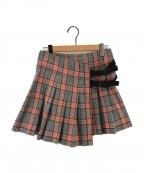 CDG JUNYA WATANABE MAN(コムデギャルソン ジュンヤワタナベマン)の古着「チェックラップフック装飾スカート」 グレー×レッド