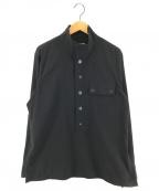 EMPORIO ARMANI(エンポリオアルマーニ)の古着「プルオーバースタンドカラーシャツ」|ブラック