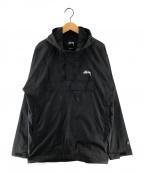 stussy()の古着「Ripstop Pullover アノラックジャケット」|ブラック