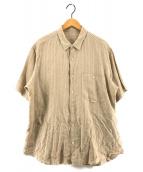 ()の古着「オーバーサイズリネン半袖シャツ」 ベージュ