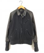 RUDE GALLERY(ルードギャラリー)の古着「13AW ニット切替袖レザースタジャン」 ブラック