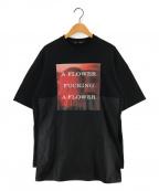 ALMOSTBLACK(オールモストブラック)の古着「プリントカットソー Tシャツ」 ブラック