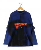 ALMOSTBLACK(オールモストブラック)の古着「P/O SWEAT (GOOD STUDENT)」 ブルー