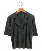 PLEATS PLEASE()の古着「半袖プリーツシャツ」|ネイビー