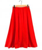 SOFIE DHOORE(ソフィードール)の古着「ウールワイドロングスカート」|レッド