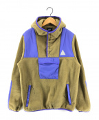 HUF(ハフ)の古着「プルオーバーフリースジャケット」 カーキ×パープル