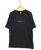 YOHJI YAMAMOTO × NEW ERA(ヨウジヤマモト × ニューエラ)の古着「コラボロゴ刺繍Tee」|ブラック