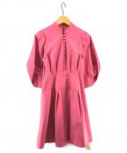 Lily Brown(リリーブラウン)の古着「ボリューム袖コットンワンピース」 ピンク