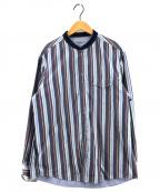 J.PRESS(ジェイプレス)の古着「ストライプポプリンリブカラーリバーシブル シャツ」|ネイビー