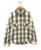 BOWWOW(バウワウ)の古着「ダメージフランネルシャツ」 ホワイト×グレー
