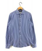 ()の古着「ジャージストライプイタリアンワイドカラーシャツ」 ホワイト×ブルー