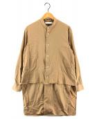 ()の古着「レイヤードロングシャツ」 ベージュ