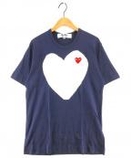 PLAY COMME des GARCONS(プレイ コムデギャルソン)の古着「ハートロゴプリントTシャツ」|ネイビー
