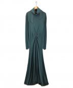 FUMIKA UCHIDA(フミカウチダ)の古着「BALLOON APRON DRESS ワンピース」|ダークグリーン