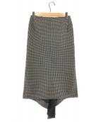 ()の古着「ドレープデザインスカート」 ホワイト×ブラック