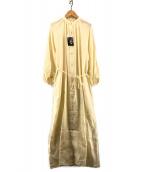 ()の古着「ヨーロピアンリネンスタンドカラー9分袖ワンピース」 ベージュ