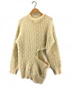 TOGA PULLA(トーガプルラ)の古着「Wool knit pullover side hole」 ベージュ