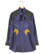 ()の古着「18AW Rayon embroidery dress」 ネイビー