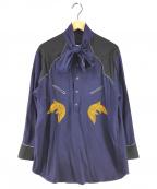 TOGA PULLA(トーガプルラ)の古着「18AW Rayon embroidery dress」 ネイビー