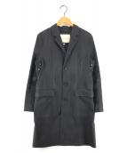 ()の古着「ゴム引きチェスターコート」 ブラック