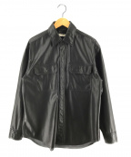 BEAUTY&YOUTH(ビューティアンドユース)の古着「レザータッチ2POCビッグシルエットシャツ」|ブラック
