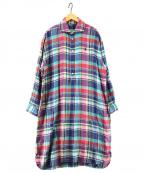 POLO RALPH LAUREN()の古着「プラッドリネンシャツドレス」|ピンク×ブルー