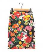 MOSCHINO(モスキーノ)の古着「フラワープリントスカート」|ブラック