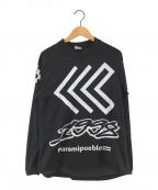 MARCELO BURLON(マルセロバーロン)の古着「フットボールTシャツ メッシュカットソー」|ブラック