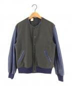 N.HOOLYWOOD(ミスターハリウッド)の古着「ノーカラー袖レザースタジャン」|ブルー×グレー